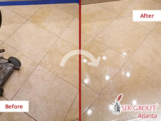 Before and After Picture of a Stone Polishing Job in Atlanta, GA