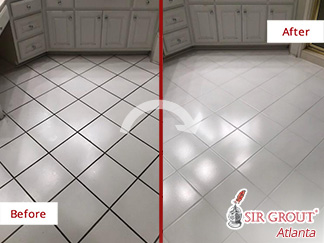 Before and After Picture of a Bathroom Floor Grout Cleaning Job in Atlanta, GA
