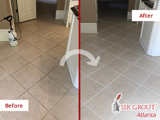 Picture of a Tile Kitchen Floor Before and After a Grout Sealing Service in Smyrna, GA