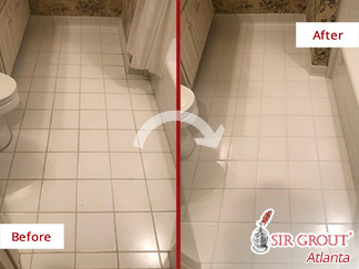 Before and After Picture of a Grout Sealing Service in Roswell, GA