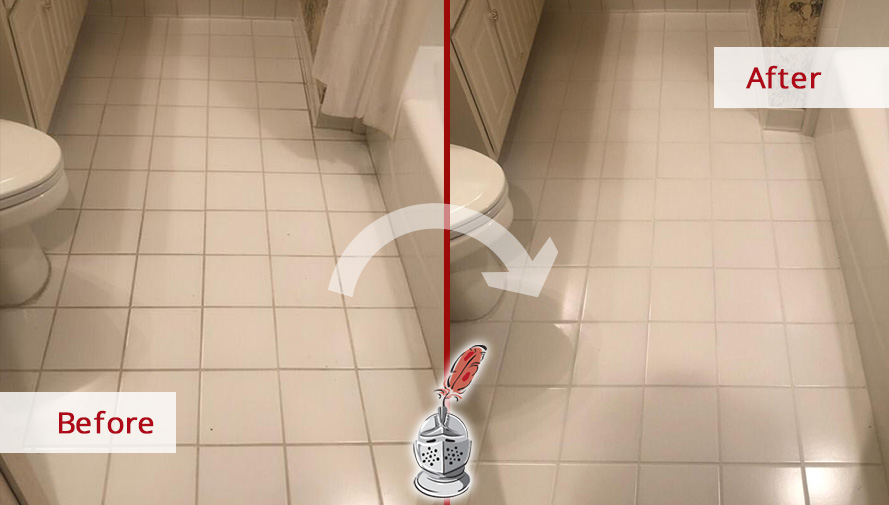 Bathroom Floor Before and After a Grout Sealing Job in Roswell, GA