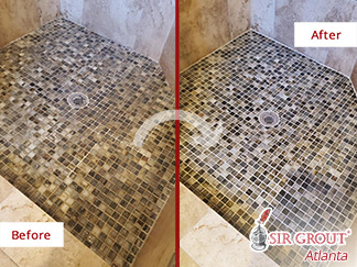 Before and After Picture of a Grout Cleaning Service in Sandy Springs, GA