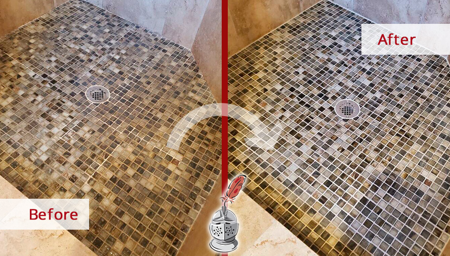 Shower Before and After a Grout Cleaning Service in Sandy Springs, GA