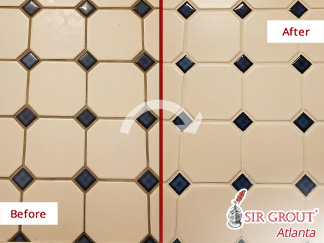 Before and After Picture of a Tile and Grout Cleaning in Alpharetta, GA