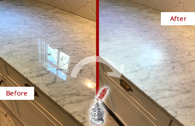 Picture of Marble Countertop Before and After Honing to Achieve a Matte Finish