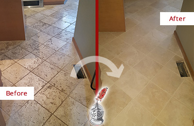 Before and After Picture of a Grout Cleaning on Kitchen Marble Floor