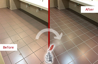 Before and After Picture of a Dallas Restrooms Tile and Grout Cleaned to Remove Embedded Dirt
