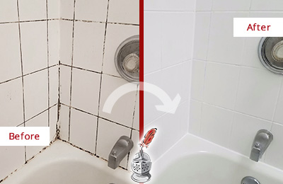 Before and After Picture of a Calhoun Shower Tile and Grout Cleaned to Eliminate Mold