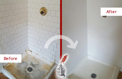 Before and After Picture of a Calhoun Shower Tile and Grout Cleaned to Remove Soap Scum