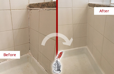 Before and After Picture of a Cornelia Shower Caulked to Repair Damaged Caulking