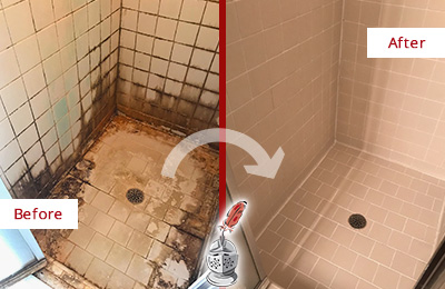 Before and After Picture of a Hiram Shower Caulked to Fix and Prevent Water Damage