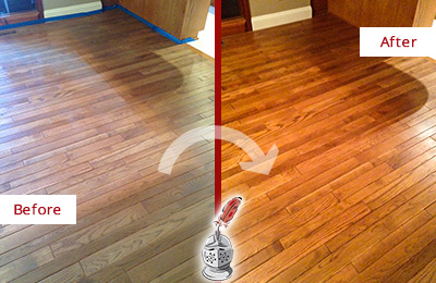 Before and After Picture of a Canton Wood Sandless Refinishing Service on a Dull Floor to Recover Its Sheen