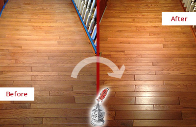 Before and After Picture of a Canton Wood Sandless Refinishing Service on a Dull Hallway