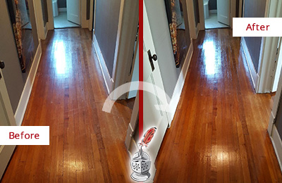 Before and After Picture of a Canton Wood Sandless Refinishing Service on a Floor to Eliminate Scratches