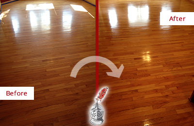 Before and After Picture of a Canton Wood Sandless Refinishing Service on a Room Floor to Remove Scratches