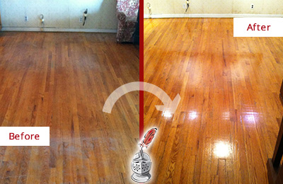 Before and After Picture of a Bethlehem Wood Sandless Refinishing Service on a Stained Floor