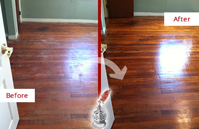 Before and After Picture of a Canton Wood Sandless Refinishing Service on a Dull Floor to Remove Stains