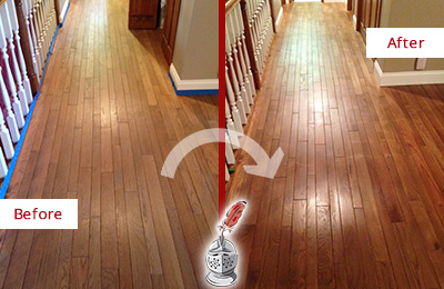 Before and After Picture of a Canton Wood Sandless Refinishing Service on a Worn Out Floor