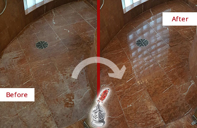 Before and After Picture of a Dunwoody Marble Stone Shower Polished to Eliminate Mineral Deposits