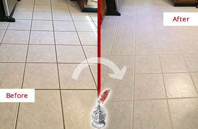 Before and After Picture of a Conyers Kitchen Ceramic Floor Sealed to Protect From Dirt and Spills