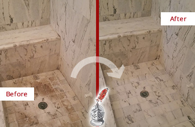 Before and After Picture of a Dirty Dacula Marble Shower Cleaned to Eliminate Dark Stains