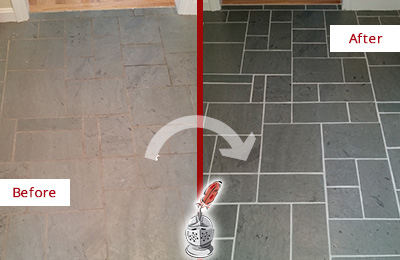 Before and After Picture of a Bowdon Junction Slate Floor Cleaned to Remove Deep-Seated Dirt