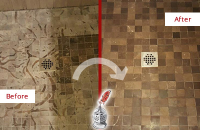 Before and After Picture of a Stained Dacula Marble Shower Floor Cleaned to Remove Etching