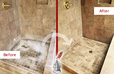 Before and After Picture of a Bowdon Junction Travertine Shower Cleaned to Eliminate Water Spots