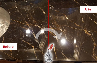 Before and After Picture of a Social Circle Marble Countertop Cleaned to Remove Water Spots