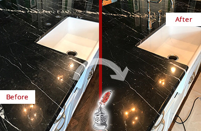Before and After Picture of a Hiram Marble Kitchen Countertop Stone Sealed to Avoid Water Damage