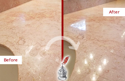 Before and After Picture of a Dunwoody Marble Vanity Top Honed to Eliminate Water Spots