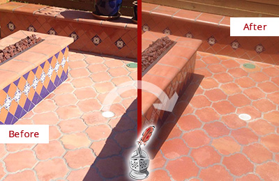Before and After Picture of a Commerce Hard Surface Restoration Service on a Dull Terracotta Patio Floor to Recover Its Color