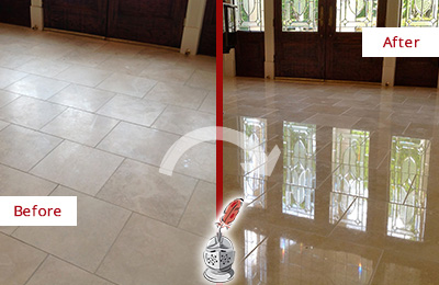 Before and After Picture of a Commerce Hard Surface Restoration Service on a Dull Travertine Floor Polished to Recover Its Splendor