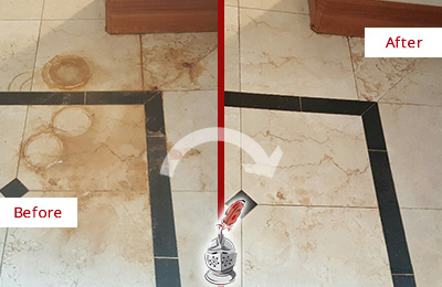 Before and After Picture of a Crawfordville Hard Surface Restoration Service on a Marble Floor to Eliminate Rust Stains