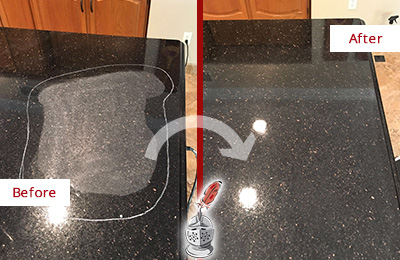 Before and After Picture of a Fairmount Hard Surface Restoration Service on a Granite Countertop to Remove Scratches