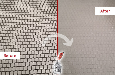 Before and After Picture of a Commerce Hard Surface Restoration Service on a Bathroom Tile Floor Recolored to Fix Grout Color