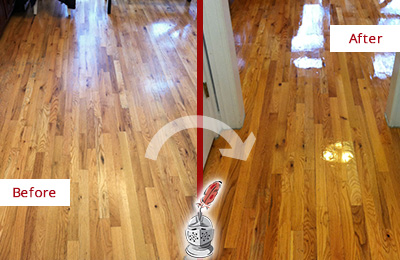 Before and After Picture of a Kennesaw Hard Surface Restoration Service on a Worn Out Wood Floor