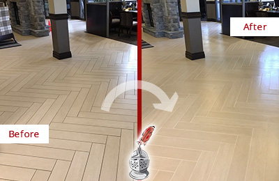 Before and After Picture of a Alpharetta Lobby Floor Cleaned to Even the Grout Color