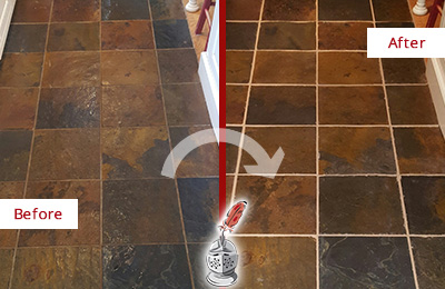 Before and After Picture of a Gainesville Slate Floor Recolored Grout