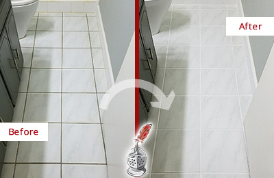 Before and After Picture of a Kennesaw White Ceramic Tile with Recolored Grout