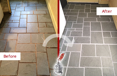 Before and After Picture of Damaged Marble Hill Slate Floor with Sealed Grout