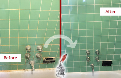 Before and After Picture of a Marble Hill Bath Tub Grout Sealed to Avoid Water Damage