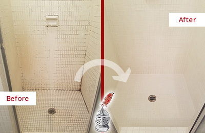 Before and After Picture of a Marble Hill Bathroom Grout Sealed to Remove Mold