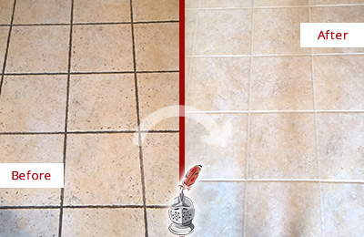 Before and After Picture of a Dallas Ceramic Floor Cleaned to Remove Soil